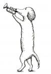 サーカス-犬がラッパを鳴らしてる